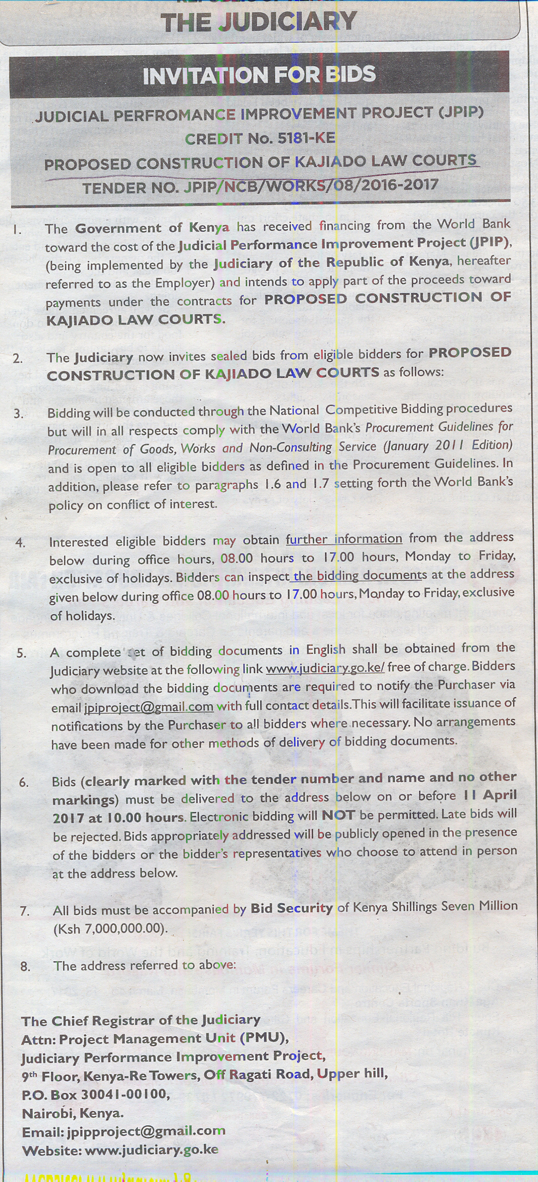 Proposed construction of kajiado law courts tender world bank to finance jrk to construct kajiado court stopboris Choice Image