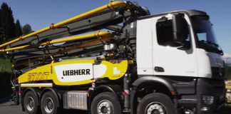 Liebherr Truck-Mounted Concrete Pump 37 R4 XXT at the World of Concrete
