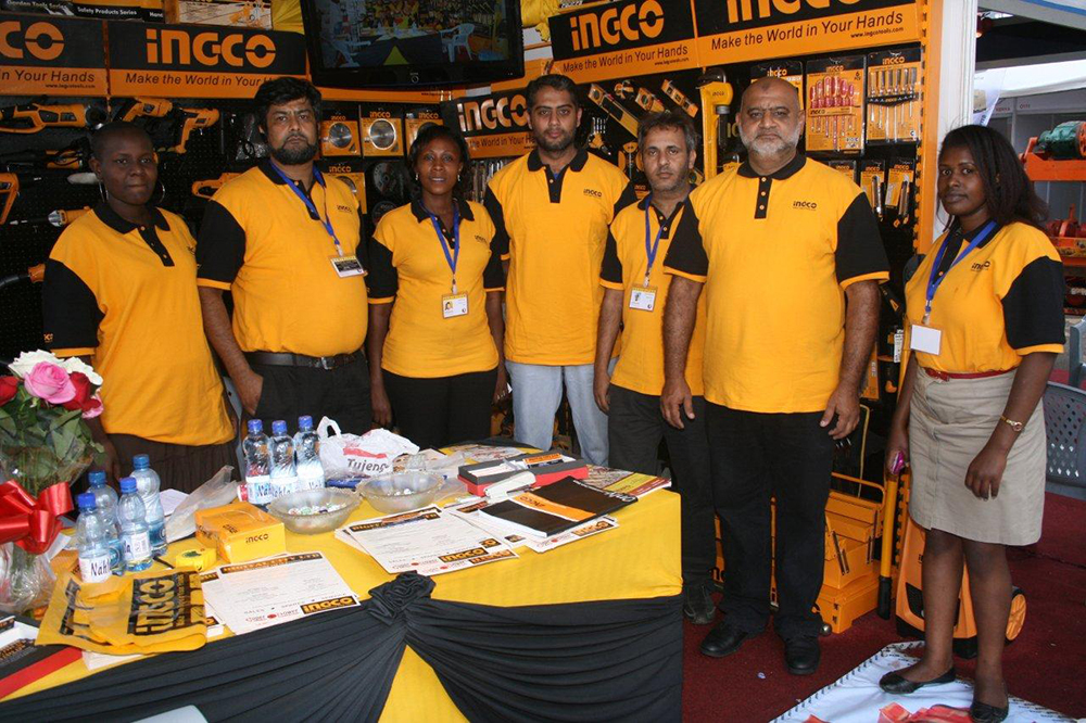 Ingco Tools Staff Pose At Their Stand