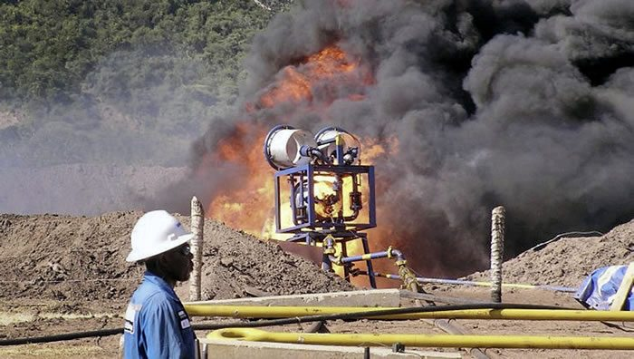 An oil well undergoes testing in Albertine, Uganda