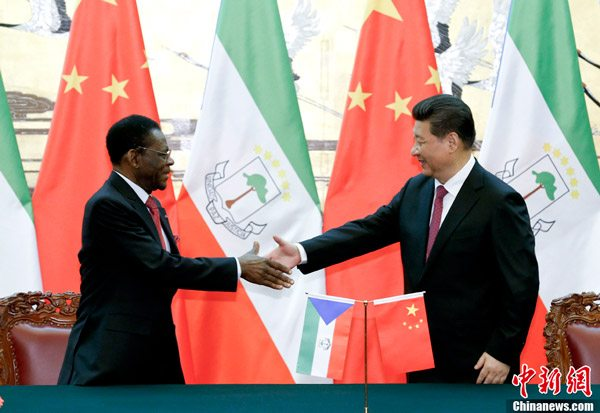 Equatorial Guinea President Teodor Obiang Nguema and the Chinese President Xi Jinping