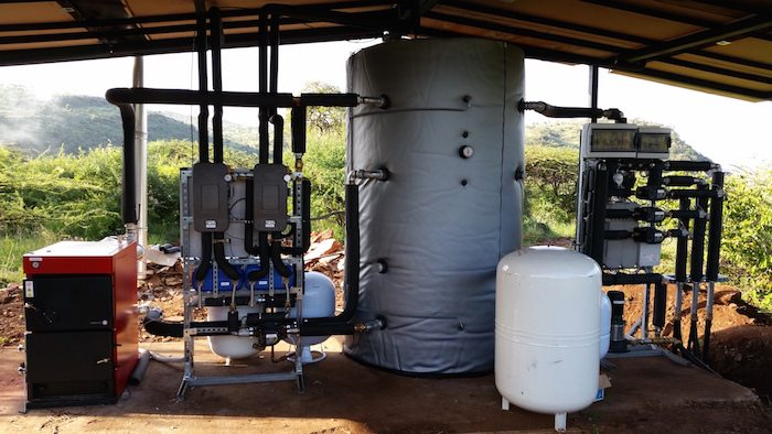 Centralized solar heating system for hot water