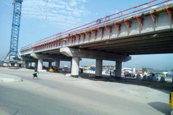 Construction Works On Reinforced Concrete Flyover In