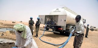 Tanker supplying clean drinking water in Darfur