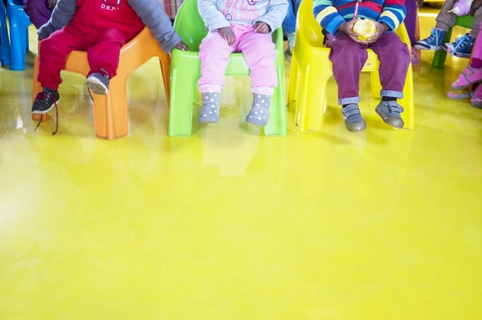 Flowcrete's donated Floor Brings Colour and Cleanliness to Child Centre