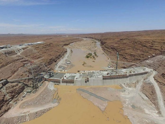 Construction of the Neckartal Dam in Namibia nears completion